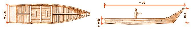- Figura 4. Prospetto e pianta di una nave ottocentesca. Disegno di E. Pasquali – Passignano sul Trasimeno.