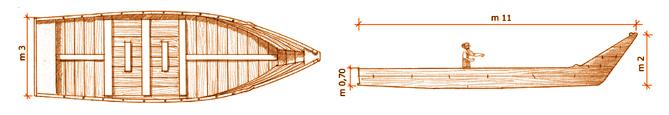 - Figura 6. Prospetto e pianta di una nave del primo Cinquecento. Disegno di E. Pasquali – Passignano sul Trasimeno.