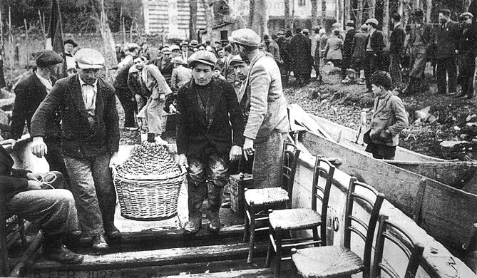 - Figura 14. Barcone di Isola Polvese. Semina di avannotti di coregone, 5 febbraio 1937. Si noti l'ampiezza dell'imbarcazione e la presenza di fori per staffe sul soprasponda. Proprietà foto Famiglia Danesi, Castiglione del Lago.